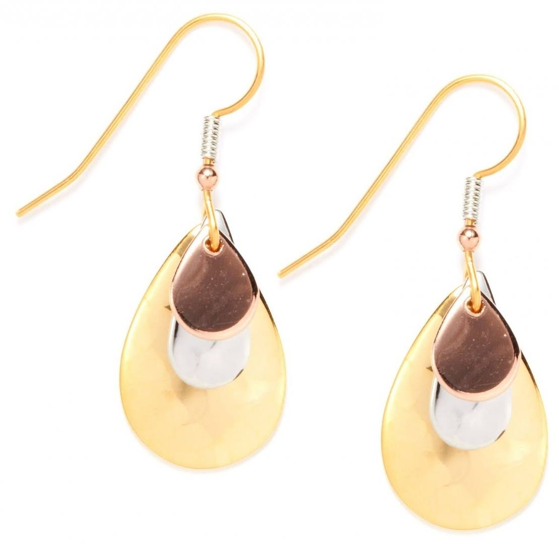 Silver Forest Tri Metal Teardrop Earrings