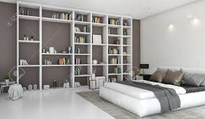 3d rendering zeitgenössischen bunten schlafzimmer mit bücherregal gebaut