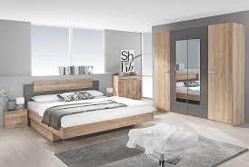 schlafzimmer 4 tlg borba rauch packs mit 160x200 bett eiche sanremo hell lavagrau