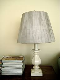 Simple DIY Candlestick Table Lamp With Gray Fabric Cover And Mini Wooden Base Painted White Color Ideas