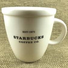 ESTD 1971 Starbucks Coffee Co Barista Abbey Large White Mug With Black Lettering