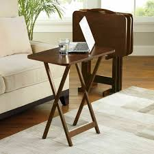 Details About 5 Piece Tray Table Set Folding Wood TV Game Snack Dinner  Laptop Stand Walnut
