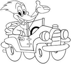 Woody Woodpecker In A Car Coloring Page