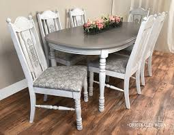 7 Piece Oval Dining Set In Annie Sloan Chalk Paint Pure White And