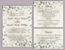 DIY Rustic Wedding Invitation Template Set Editable Word File Download Printable Vintage Silver Leaf Floral