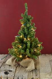 Tabletop Live Christmas Trees by Lit Artificial 18 Inch Pine Tree Burlap Sack Base Tabletop