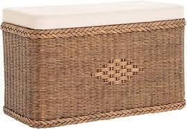 korb outlet sitztruhe aus echtem rattan truhenbank wäschetruhe mit gepolsterten sitz in der farbe vintage braun