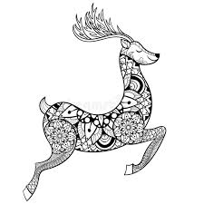 Download Zentangle Vector Reindeer For Adult Anti Stress Coloring Pages Stock