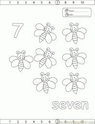 Numbers 7 Coloring Page Free Pages Pertaining To Number