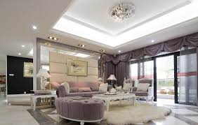 modern villa living room with light purple sofa and curtains