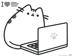 Pusheen Coloring Pages Playing Laptop Free Printable Download This Page Birthday
