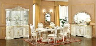 Italian Glass Furniture Dining Room Modern Deluxe Marble White Cupboard Dresser Big Mirror Red Floral Pattern Reflex