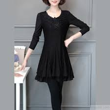2017 Fall Warm Black Patchwork Lace Dresses Loose Slim Layered Women Cute Dress Enlarge