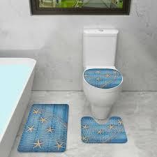 3tlg set maritim toilette vorleger badgarnitur badematte