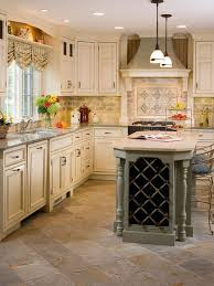 Flooring Elegant Traditional Kitchen With Classic Slate Floors Also Beige Cabinet