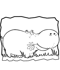 African Animal Coloring Pages Hippo Free