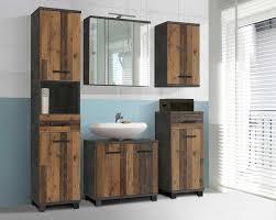 badmöbel set in wood vintage und betonoptik