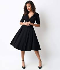 500 Vintage Style Dresses For Sale Unique 1950s Black Delores Swing Dress With Sleeves 8800