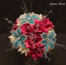 Fuchsia And Turquoise Beaded Flower Bouquet
