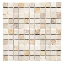 mixed 12 in x 12 in x 10 mm tumbled travertine mesh mounted