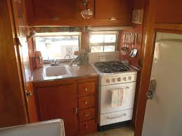 Interior Shot Shows Kitchen In 1955 Aljoa Sportsman Trailer With A Vintage Dixie Stove