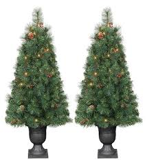 Pre Lit Douglas Fir Porch Pot Artificial Tree Set Clear Lights