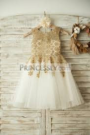 gold lace ivory tulle wedding flower dress