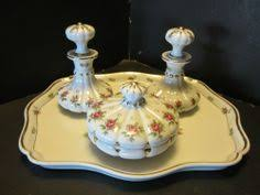 Vanity Dresser Set Accessories by Limoges Hand Painted Rose Dresser Tray Set Artist Signed Dresser