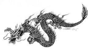 Latest Black Ink Chinese Dragon Tattoo Design
