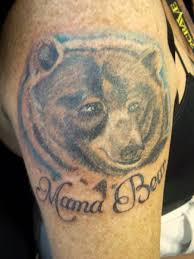 Memorable Mama Bear Word And Sweet Tattoo On Upper Sleeve