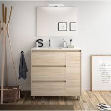 badezimmer badmöbel auf dem boden 85 cm braunem holz caledonia mit porzellan waschtisch