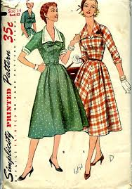 Simplicity 1245 1950s Full Skirt Dress W Detachable Collar Cuffs Vintage 50s Pattern