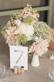 Blush Peach And White Spring Wedding Centerpieces With Burlap Lace