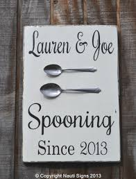 Spooning Since Wood Sign Personalized Wedding Anniversary Gift Home Decor Kitchen