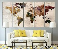 Extra Large Wall Art Map Canvas Print Rustic World