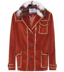 shearling trimmed corduroy jacket prada mytheresa