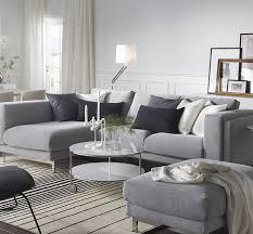 ikea nockeby 3 sits soffa med schäslong med tenö ljusgrå klädsel