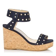 navy suede wedges with gold studs nelly pre fall 17 jimmy choo
