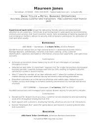 Sample Resume For Bank Branch Operations Manager Good Teller Banking Examples
