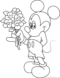 Mickey Mouse Having Flowers In Hand Coloring Page Download
