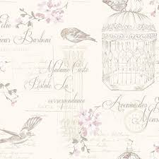 Birds And Typography Shabby Chic Wallpaper