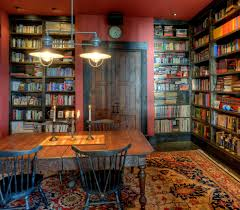 Library Rooms Home Office Rustic With Wood Table Built In Bookcase