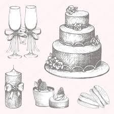Hand drawn wedding cake design elements — Stock Vector