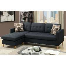 Poundex Reversible Sectional Sofa by Poundex 2 Pc Leta Collection Black Polyfiber Fabric Upholstered