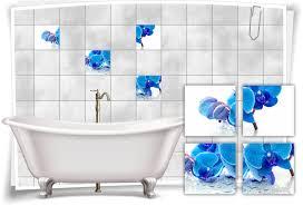 fliesen aufkleber fliesen bild orchideen wassertropfen blau wellness spa deko bad wc