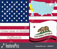 Flags California State Illustration Abstract Vector Art