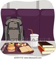 Clipart Of School Lunch Tray With Stack Books On Table And