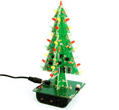 3D Christmas Tree LED 3 Color Lights DIY Electronic Learning Kit Green