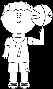 Black and White Boy Balancing Basketball on Finger Clip Art