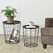 en casa beistelltisch set 2 st 2er set cerisey metallkorb 2er set wohnzimmertisch mit abnehmbaren tablett schwarz kaufen otto